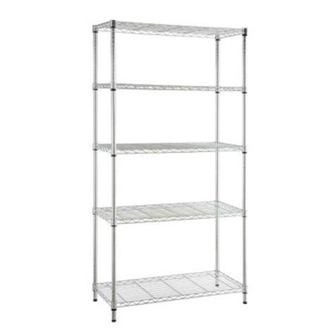 Hdx Shelf Storage Unit by Hdx 5 Shelf Steel Storage Unit In Chrome 21656cps The Home Depot