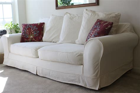 pillow back sofa slipcovers white slipcovered sofa for living room homesfeed