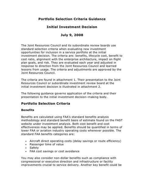 How To Address Key Selection Criteria In A Cover Letter by Portfolio Selection Criteria Guidance