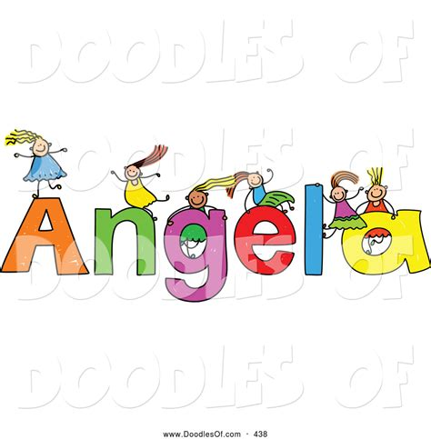 doodle name angela vector clipart of a childs sketch of five on