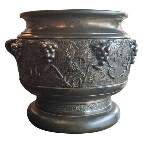 Bronze Planters meiji period bronze planter with grape motif for sale at
