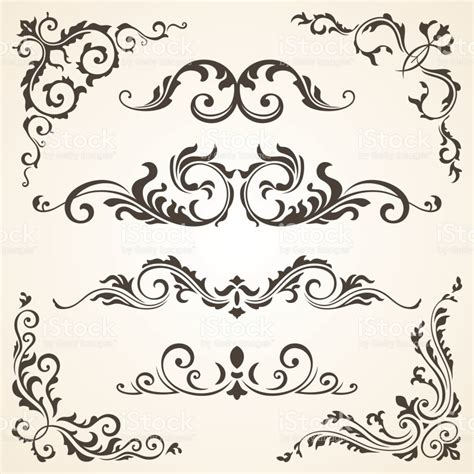 calligraphic design elements and page decoration vector set vector set of swirl elements and corners for design