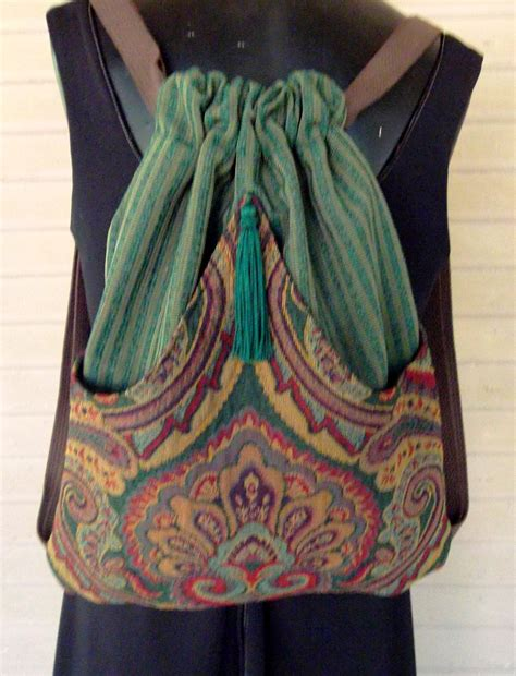 B Fashion Slingbag backpack tapestry and green stripe upholstery boho