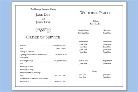 wedding program template word free wedding program template word