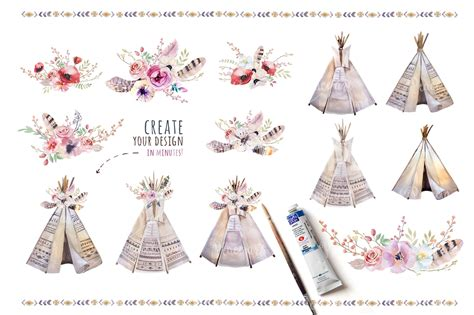 watercolor boho teepee amp bouquets by peace shop