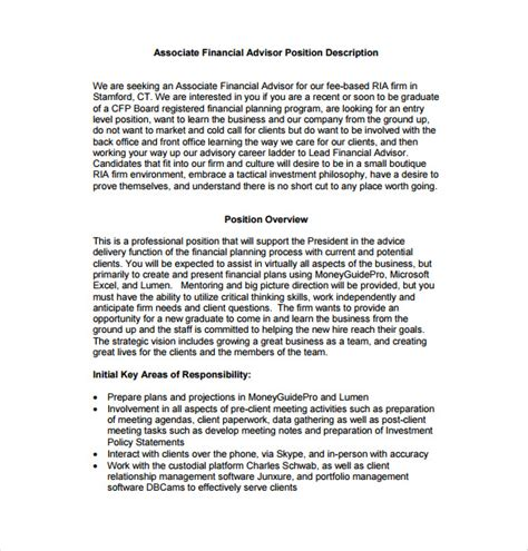 Financial Advisors Description by 7 Financial Advisor Description Templates Free Sle Exle Format Free
