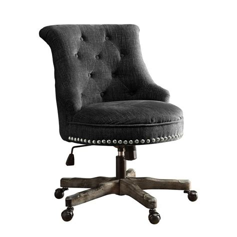 armless upholstered office chair in charcoal gray
