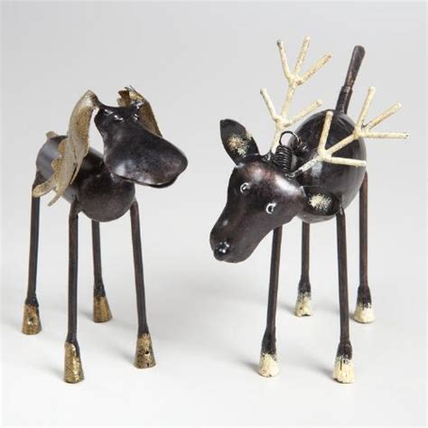 moose and reindeer christmas figures set of 2 world market