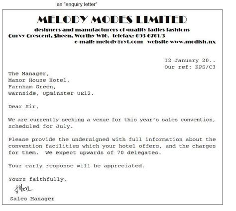 Business Letter Enquiry Business Letters