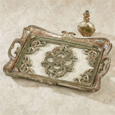 Silver Vanity Tray by Bethney Glass Vanity Tray