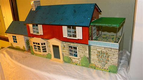 Weird House Plans by Rare 1962 Marx Metal Dollhouse With A Fallout Bomb