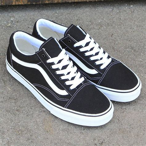 vans canvas skool classic black true white