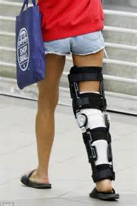 leg brace lauryn eagle sports heavy bandaging and brace after slicing leg open on glass and
