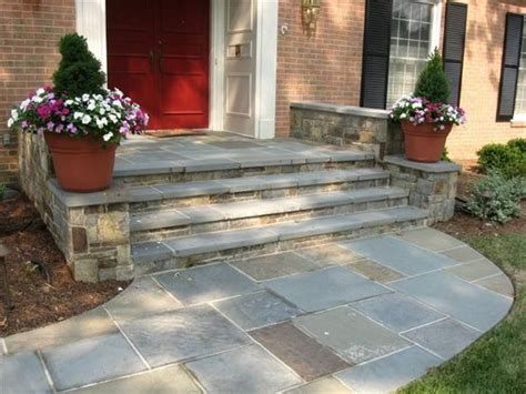 stone walkway and front steps landscaping paving stones pinterest front porches walkways