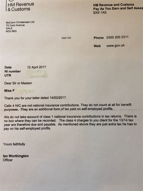 National Insurance Letter A Hmrc Is Shite 2017