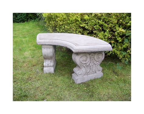 stone bench for garden large curved garden bench hand cast stone garden ornament