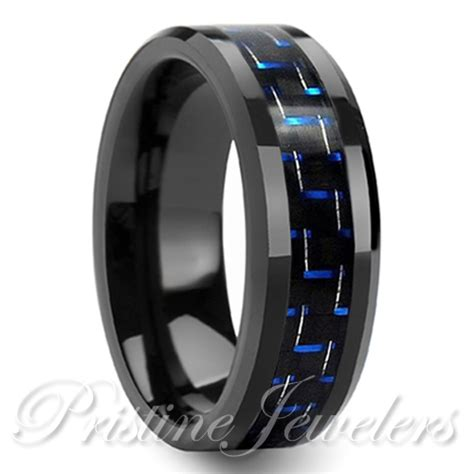 tungsten carbide mens wedding band black and blue carbon