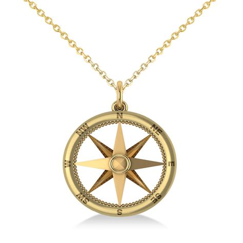 jewelry pendants for jewelry nautical compass pendant necklace plain metal 14k yellow gold