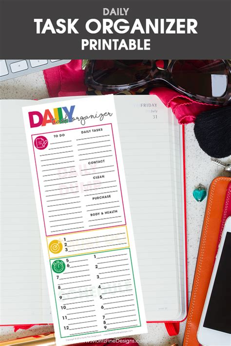 task organizer daily task planning organizer free printable included