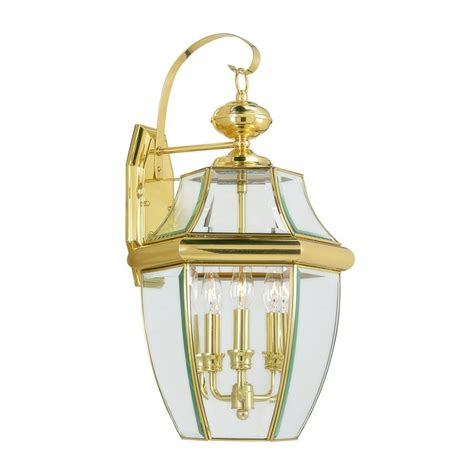 Brass Landscape Lighting Shop Livex Lighting Monterey 22 25 In H Polished Brass Candelabra Base E 12 Outdoor Wall Light