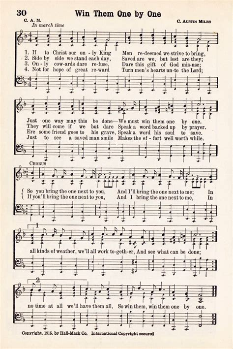 Farmhouse Home Decor antique hymn printable music page win them one by one