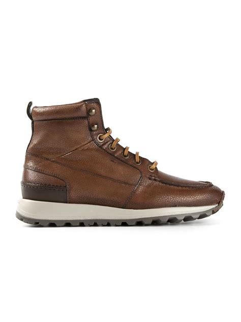 santoni hiking boots in brown for lyst
