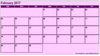 February Calendar February 2017 Calendar