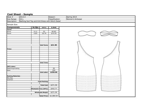 template of cost sheet exles katiechick