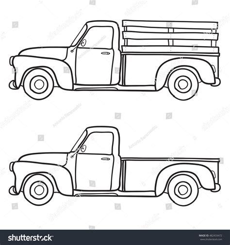 doodle truck free retro truck vector doodle illustration stock vector