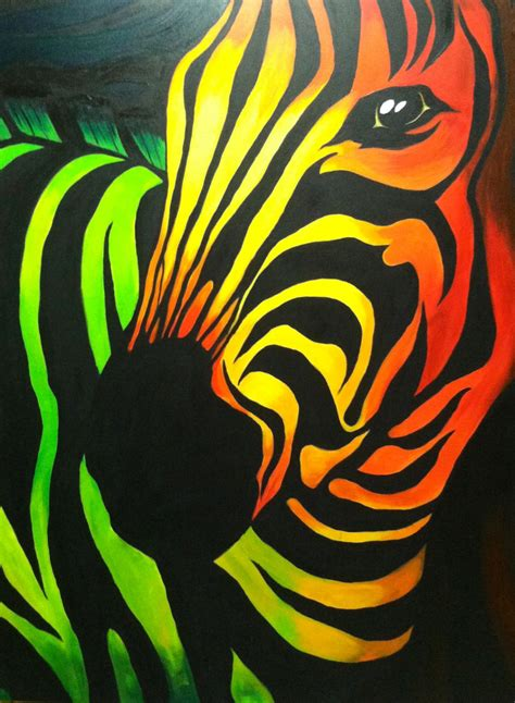 colorful zebra acrylic on canvas multi colored abstract zebra a day