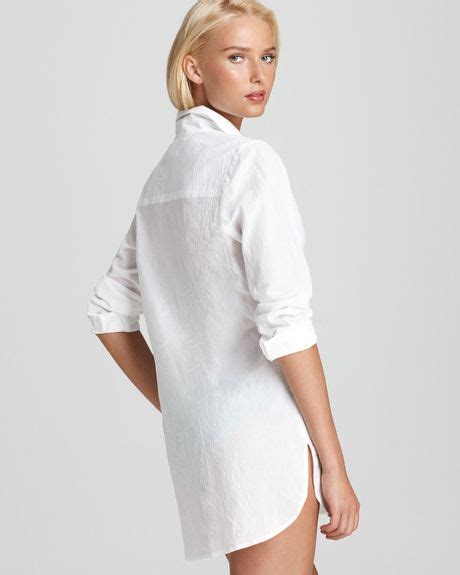 Boyfriend Shirts Bahama Crinkle Cotton Boyfriend Shirt In White Lyst
