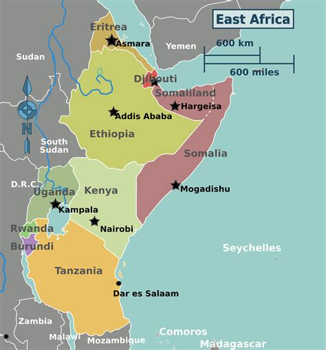 east africa map eastern africa map