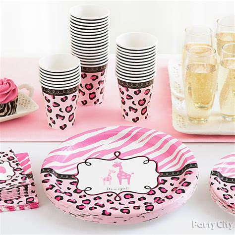 Pink Safari Baby Shower Ideas by Baby Shower Jungle Theme Place Settings Idea