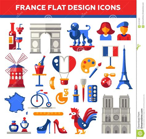 design franc art set of flat design france travel icons stock vector