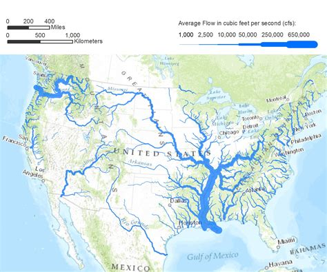 map of us states and major rivers flow rates a map of the united states illustrating flow