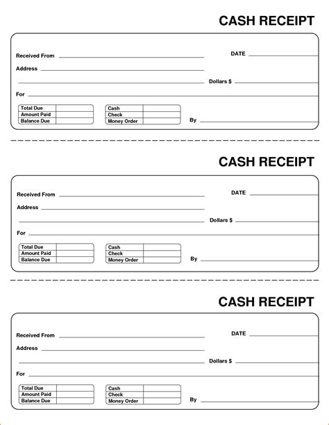 receipt template page receipt form printable receipt
