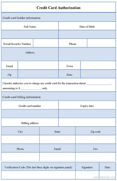 sle credit card authorization form template sle forms