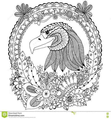 vector illustration zen tangle eagle round frame floral