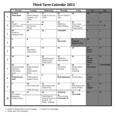 Ta Events Calendar Cs Bay High School Cbhs Events Calendar 3rd Term 2013