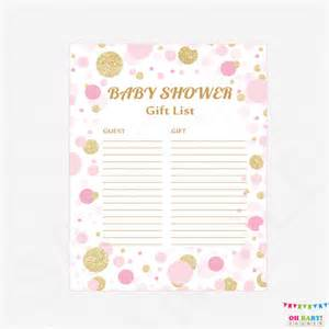 list of baby shower gifts pink and gold baby shower gift list printable gift list baby