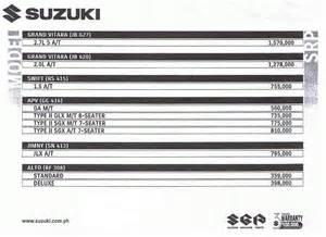 Suzuki Motors Price List Suzuki Cars Philippines Prices April 2008