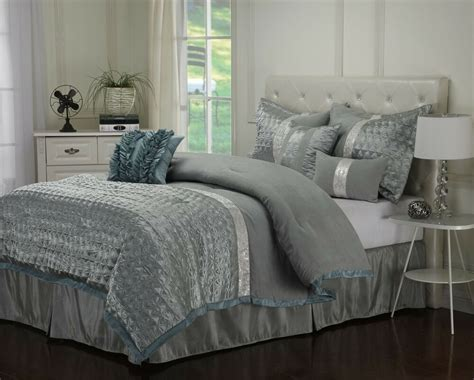 Teal Bedding by Dannica 7 Silver Teal Ruffled Comforter Bedding