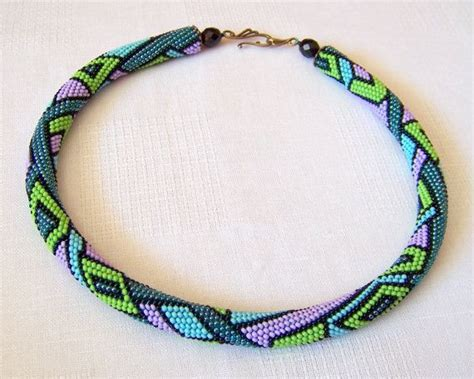 bead crochet rope patterns beaded crochet rope necklace with geometric pattern