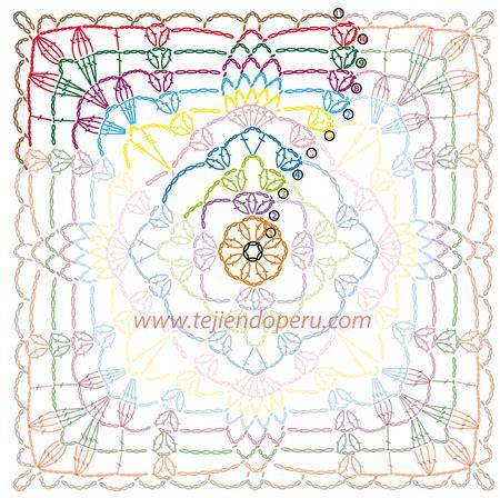 cuadrado de ganchillo cuadrado con hojas caladas tejido a crochet granny square
