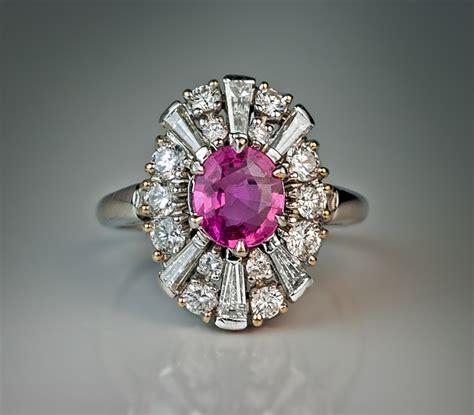 pink sapphire platinum engagement ring antique