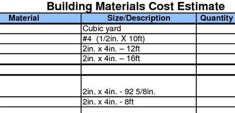 building material estimator download sheets building materials sheet cost