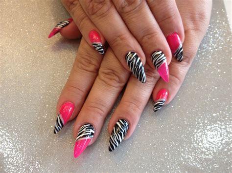 stiletto nails  pink  zebra print nail art nail designs
