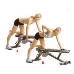dumbbell bench rows tone up for a two piece women s health magazine