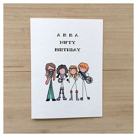 abba card birthday card greeting card funny card 50th birthday punny pun card happy