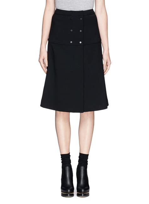 proenza schouler wool blend a line midi skirt in black lyst